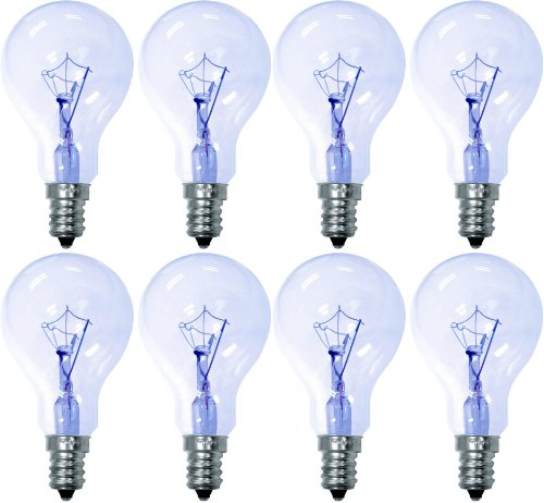GE Reveal 76612 40-Watt, 285-Lumen A15 Light Bulb with Candelabra Base, 8-Pack - 40w Reveal Candelabra
