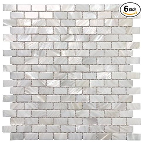 Genuine Mother of Pearl Natural Varied Square Mosaic Tile 12