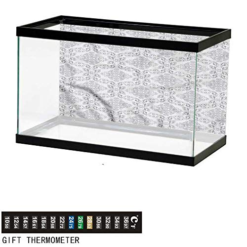 - bybyhome Fish Tank Backdrop Grey,Victorian Regency Tile,Aquarium Background,48