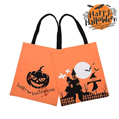 2 Pack Halloween Bags Trick or Treat Candy Bags, Halloween Large Treat Goody Tote Canvas Bag, Halloween Goodie Bags, Pumpkin Party Tote