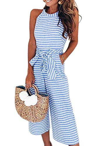 Dearlove Womens Jumpsuits Sleeveless Striped High Neck Casual Loose Wide Leg Belted Rompers with Pockets Sky Blue 2XL ()