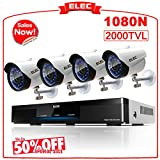 Cheap ELEC 8CH 1080N AHD In/Outdoor Home Security Camera System CCTV Monitoring Video Surveillance DVR Kit with 4Pcs 2000TVL IP66 65Feet Night Vision Cameras Remote Access Motion Alerts [No Hard Drive]