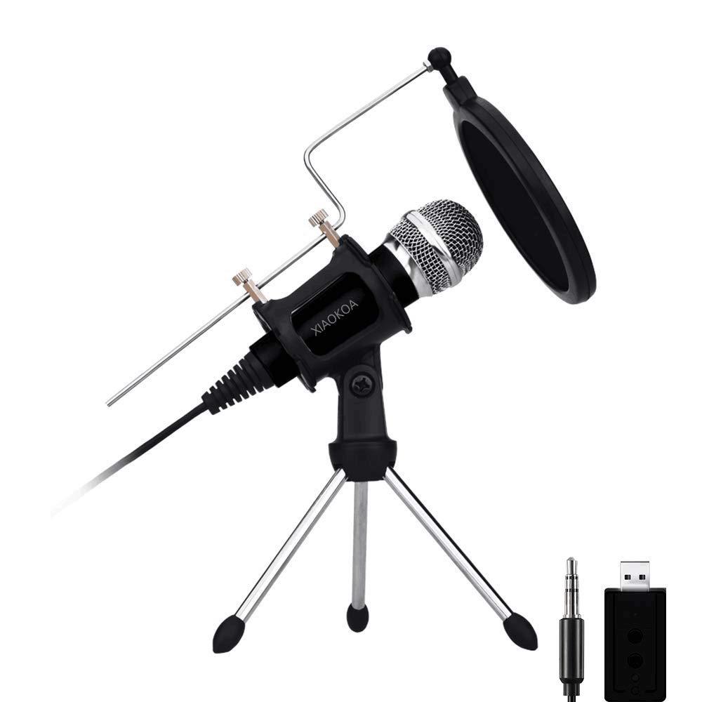 Micrófono de condensador profesional, micrófonos Plug & Play Home Studio para grabación de Android Iphone, PC, computado