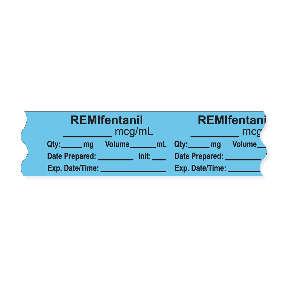 PDC Healthcare AN-2-38 Anesthesia Tape with Exp. Date, Time, and Initial, Removable, ''REMIfentanil mcg/mL'', 1'' Core, 3/4'' x 500'',333 Imprints, 500 Inches per Roll, Blue (Pack of 500)