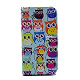 Galaxy S4 Mini Case, Firefish Slim Flip Folio Top Grade [Kickstand] PU and TPU Case Magnet Buckle Cover [Impact Resistant] Card Holder Cash Pouch for Samsung Galaxy S4 Mini-Owls