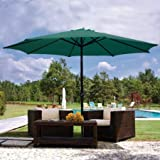 9ft Green Sunshade Umbrella Metal Pole Outdoor Garden Yard Patio Beach Market Cafe 9′