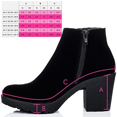 SPYLOVEBUY BUXTON Damen Reissverschluss Blockabsatz Stiefeletten Schuhe Schwarz - Synthetik Wildleder