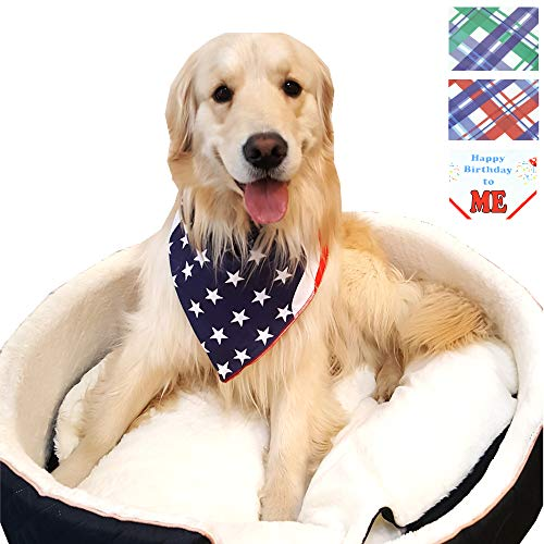 Premium Dog Pet Bandanas, Birthday, American Flag, Plad Scarfs for Dogs in Bulk Set, Wholesale and Bulk - Great for Small and Large Pets (Flag, 1 PK)