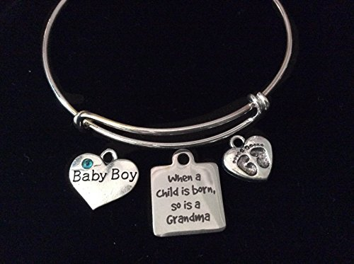 When A Child Is Born So Is A Grandma Expandable Charm Bracelet Baby Boy or Girl Silver Adjustable Bangle Grandmother New Baby Gift Baby Feet Pink or Blue Rhinestone