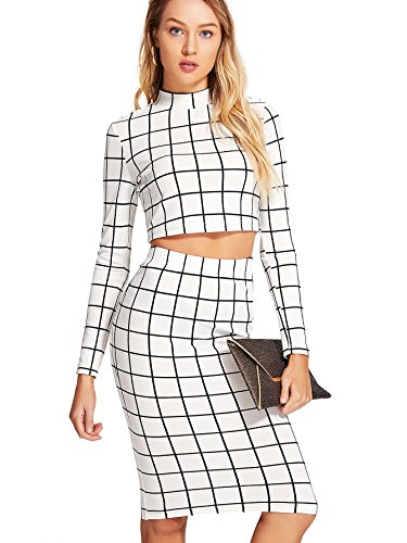 (Romwe Women's Grid Crop Top Pencil Skirt 2 Piece Set Bodycon Mini Dress White X-Large)
