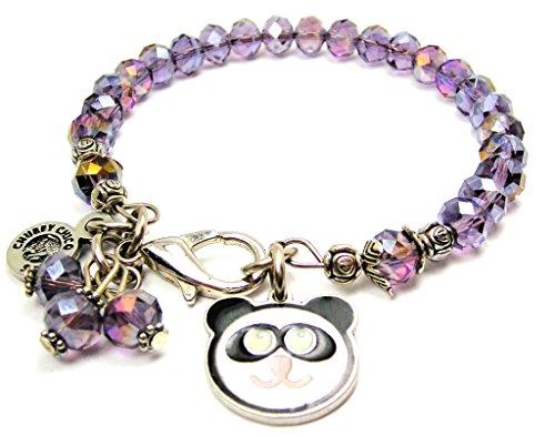 Lavender Polished Bracelets - ChubbyChicoCharms Panda Face Hand Painted Splash of Color Crystal Bracelet in Lavender Purple, 2.5