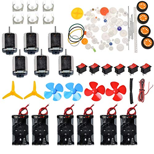 - 6 Set Dc Motor Kit Homemade DIY Project Kits: DC Motors,Gears,propellers,AA Battery case, Cables,on/Off Switch for DIY Science Projects