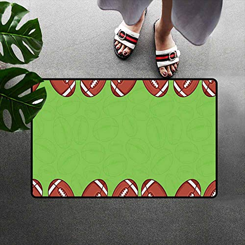 Wang Hai Chuan Football Inlet Outdoor Door mat Cartoon Framework with Balls and Faded Silhouettes Game Match Catch dust Snow and mud W35.4 x L47.2 Inch Pistachio Green Redwood White