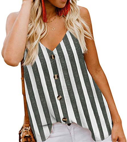 Angerella Women's Summer Vertical Stripes Button Down V Neck Strappy Tank Tops Shirts Blouses Gray,S