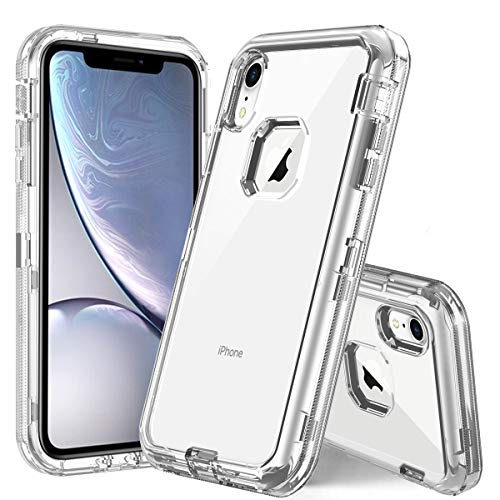 (for iPhone XR case Clear, PIXIU Heavy Duty Protective Dual Layer with Hard PC Bumper & Soft TPU Back Shockproof Hybrid Case for Apple iPhone Xr 6.1 inch 2018 Release Transparent)