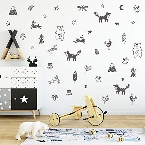 - Wall Vinyl Night Forest Animal Decal 40 pcs. Nursery Decor, Original Artist Design. Adhesive Sticker for Kids. Nordic Fox, Bear, Mountain, Pine, Flower, Star, Bird Leaf Bedroom Decoration. (Grey)