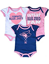 Toronto Blue Jays Newborn Girls Lil' Fanatic 3-Piece Creeper Set - Size 6-9 Months