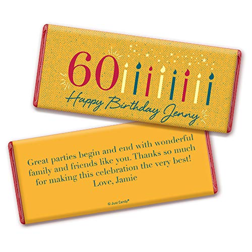 60th Birthday Party Favors Personalized Wrappers for Hershey's Chocolate Bars (25 Count)