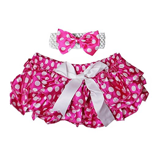 Kirei Sui Baby Polka Dots Bloomers & Headband Set Hot Pink - Dot Bloomer Set
