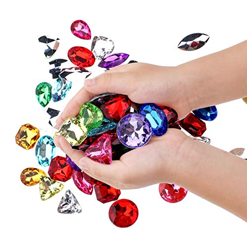 Richness Pirate Treasure Jewels Jumbo Bling Diamonds Multi-Colored Treasure for Pirate Party Pack of 80pcs