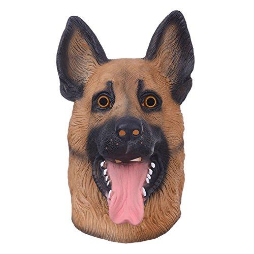 Shepherd Dress Up (Creative Dog Head Full Face Mask Natural Rubber Latex Animal Imitation German Shepherd Headgear Halloween Masquerade Party Dress-up Head Mask)