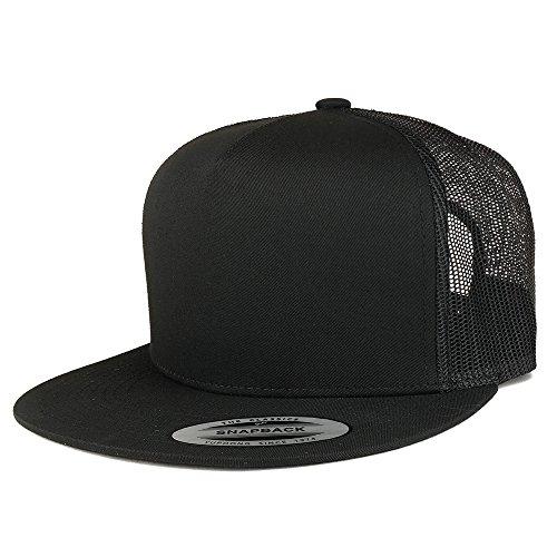 Trendy Apparel Shop Flexfit Brand 5 Panel Classic Trucker Flatbill Mesh Snapback Cap - (Classic Mesh Cap)