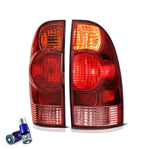VIPMOTOZ Red Lens OE-Style Tail Light Lamp Assembly For 2005-2015 Toyota Tacoma Pickup Truck - CREE LED Backup Bulbs Included, Driver & Passenger Side