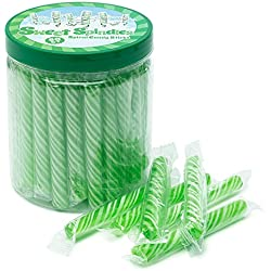 Sweet Spindles Mini Hard Candy Sticks - 50-Piece Jar (Green)
