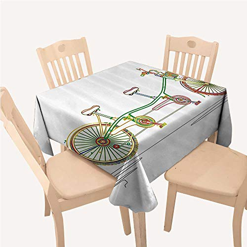 WilliamsDecor Decorative Holiday Tablecloth Colorful Tandem Bicycle Design on White Background Pattern Clipart Style PrintMulticolor Square Tablecloth W54 xL54 -