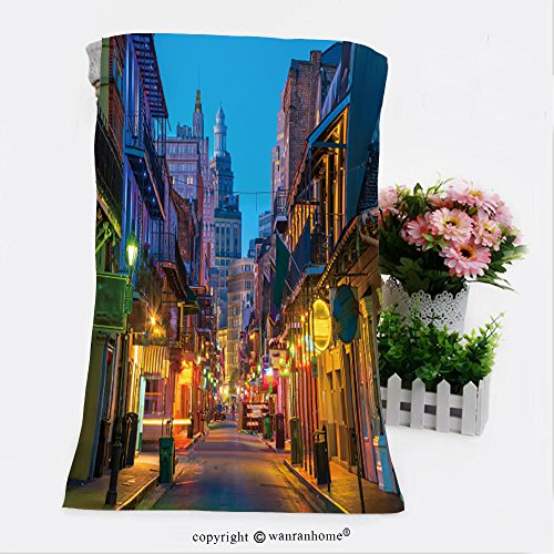 VROSELV Cotton Microfiber Bathroom Bath Towel-pubs and bars with neon lights in the french quarter new orleans usa Custom pattern of household - Charleston Quarter French