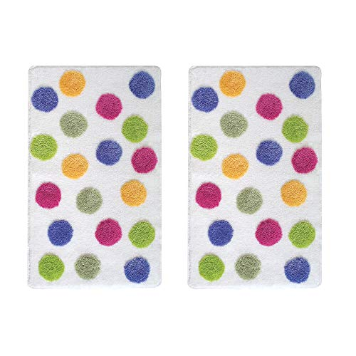 mDesign Soft Acrylic Non-Slip Rectangular Spa Mat Rugs, Plush Water Absorbent, Dotted Design - for Bathroom Vanity, Bathtub/Shower, Machine Washable - 34