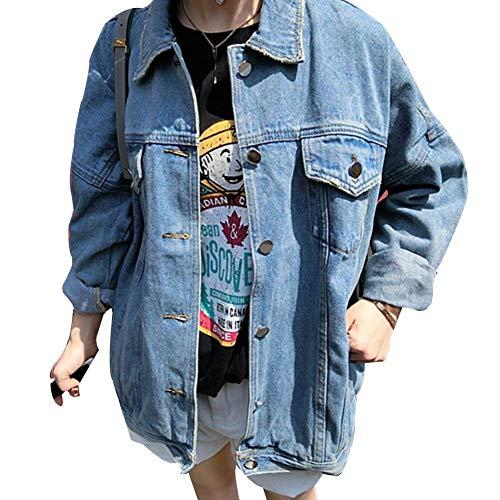 Haidean Donna Jeans Giacca Autunno Fashion Manica Lunga Fidanzato Base Ragazze Relaxed Semplice Glamorous Eleganti Stile Streetwear Tendenza Casual Denim Cappotto Outerwear Hellblau