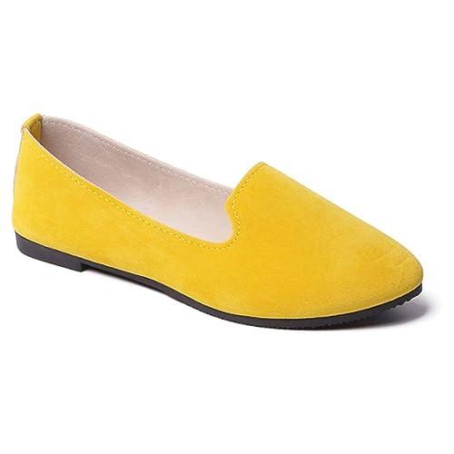 Tenthree Mujeres Ante Bote Zapatos - Redondo Punta Plano Zapatos Dulce Trabajo Embarazadas Comodidad Comodidad Penique Mocasines Zapatos: Amazon.es: Zapatos ...