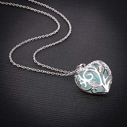 REwo6pkg Hollow Out Heart Rhinestone Pendant Luminous Chain Necklace, Fashion Women Birthday Gift Jewelry Blue