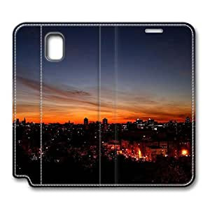 Brain114 Fashion Style Case Design Flip Folio PU Leather Cover Standup Cover Case with City 6 Pattern Skin for Samsung Galaxy Note 3