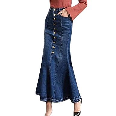 Falda de Mezclilla de Las Mujeres, Moda para Mujer Botón de Cintura Alta