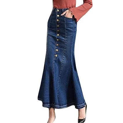 ❤ Falda de Mezclilla de Las Mujeres, Moda para Mujer Botón de Cintura Alta Largo Bolsillo Delantero Falda de Cola de Pescado Faldas de Mezclilla Maxi ...
