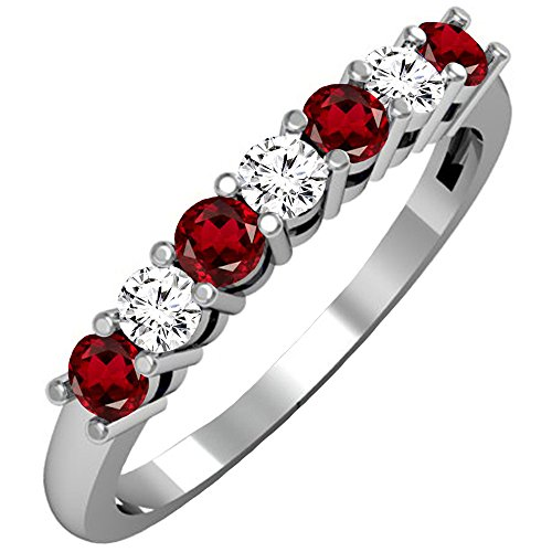 Garnet White Gold Wedding Bands - DazzlingRock Collection 14K White Gold Round Garnet & White Diamond Ladies 7 Stone Wedding Band Ring (Size 7)