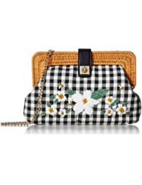 Women Handbag black & white checkered and natural tan daisy and confused clutch crossbody