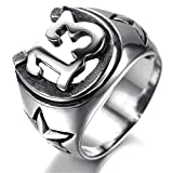 Stainless Steel Ring for Men, U 13 Ring Gothic Silver Band 25*15MM Size 9 Epinki