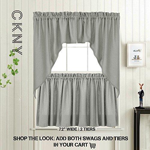 Grey 38 Inch Swag Curtains For Windows Elegant Home Decor