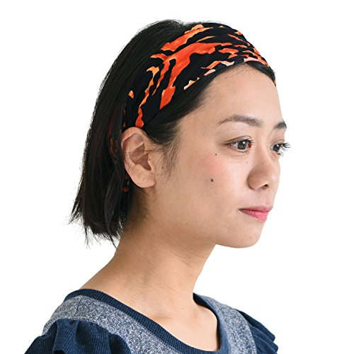 CHARM Womens Yoga Headband Bandana - Mens Boho Glam Rock Animal Print Costume Accessory Orange