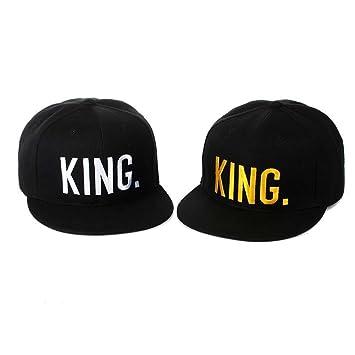 BLUEUK KING QUEEN Los amantes de la gorra de béisbol letras borde ...