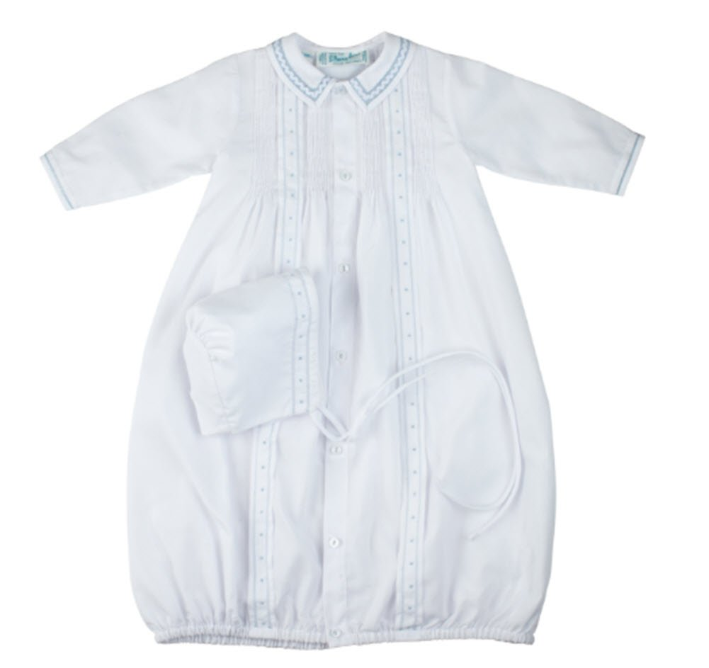 Feltman Brothers White & Blue Tucked Take Me Home Gown & Bonnet Newborn Boys by Feltman Brothers