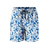 Elxie06 Blue and White Hibiscus Mens Quick Dry Breathable Beach Shorts with Drawstring
