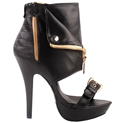 SHOW STORY Moto Black Open Toe Gold Zip Strappy Stiletto High Heel Dress Sandals Gladiator High Heel Stiletto Platform Ankle Bootie Sandals,LF30103BK39,8US,Black