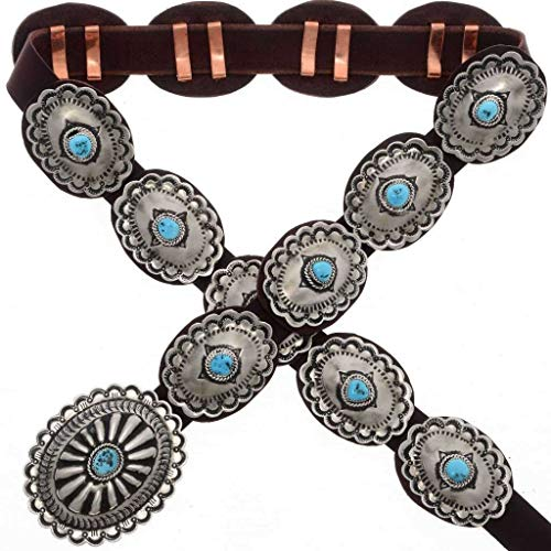 Sleeping Beauty Turquoise Concho Belt Traditional Navajo Pattern 1587