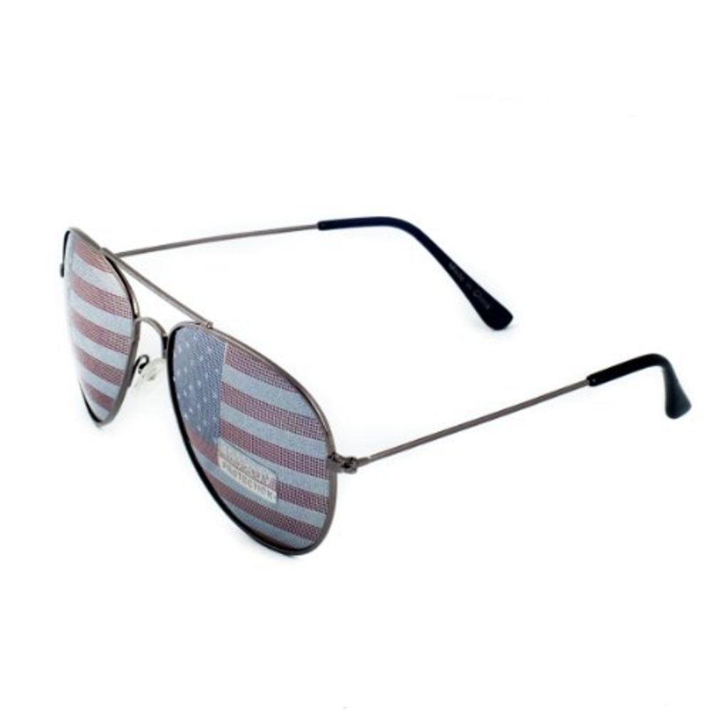 Gunmetal American Flag USA Classic Teardrop Metal Aviator Sunglasses