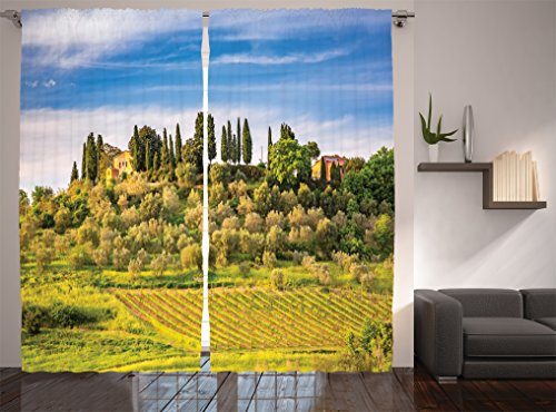 Ambesonne Tuscan Decor Collection, Retro Stone and Toscana Farmhouse Vineyard Image, Window Treatments, Living Room Bedroom Curtain 2 Panels Set, 108 X 84 Inches, Blue Green Khaki ()