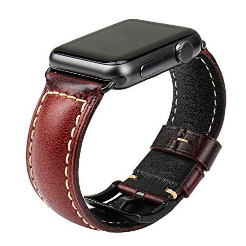 MAIKES Oil Wax Leather Strap Replacement for Apple Watch Band 44mm 38mm 42mm 40mm Series 4 3 2 1 iWatch Watchband Compatible with Apple Watch(38mm, Red+Black Buckle)